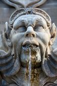 Sculptural detail of the baroque fountain in the Piazza della Rotonda Rome Italy