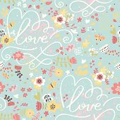 Bright romantic seamless pattern in modern stylish colors. Seamless pattern can be used for wallpape