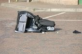 foto of mayhem  - Black suitcase left on Gas Station forecourt by dissident republicans causing major security alert on West Belfasts Stewartstown Road - JPG