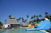 Pool area at Now Larimar All-inclusive Hotel located at the Bavaro beach in Punta Cana, Dominican Re
