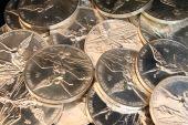 Fondo de monedas de plata