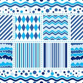 Seamless White-blue Wave Pattern