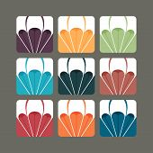 image of suspenders  - Set of nine paragliding illustrations in colors - JPG