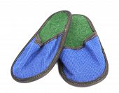 Bright pair of blue slippers.