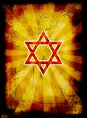 Yom Kippur Grunge Jewish Background With Red David Star