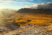 stock photo of apennines  - amazing campo imperatore view on Abruzzo Apennines
