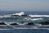 Pacific Ocean Horizon with California Coast Rocks