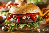 stock photo of veggie burger  - Healthy Vegetarian Portobello Mushroom Burger with Cheese and Veggies - JPG