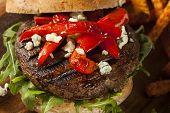 picture of veggie burger  - Healthy Vegetarian Portobello Mushroom Burger with Cheese and Veggies - JPG