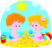 Children play on a beach