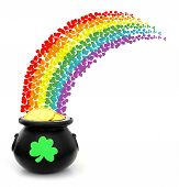 stock photo of pot gold  - St Patricks Day pot of gold with colorful shamrock rainbow - JPG