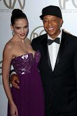 Hana Nitsche, Russell Simmons at the 24th Annual Producers Guild Awards, Beverly Hilton, Beverly Hills, CA 01-26-13