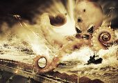 War With A Large Sea Monster - Octopus Alien