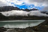 Tasman glacier lake view in New Zealand