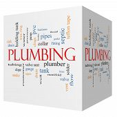 foto of nipple rings  - Plumbing 3D cube Word Cloud Concept with great terms such as pipes fitting plumber and more - JPG