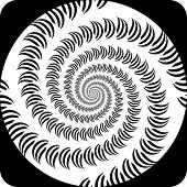 Design Decorative Spiral Movement Background. Abstract Monochrome Icon In Op Art Design