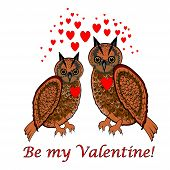 "A Couple Of Owls With Red Hearts And Words ""be My Valentine"". Design Valentines Day Card"