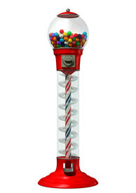 pic of gumball machine  - A regular red vintage gumball dispenser machine made of glass and reflective plastic with chrome trim filled with multicolored gumballs on an isolated white background - JPG