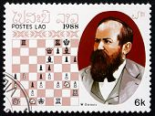 Postage Stamp Laos 1988 Wilhelm Steinitz, Chess Champion