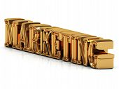 Marketing 3D Inscription Of Golden Bright Letter