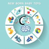Circle Vector Baby Infographic.new Born Baby Boy Toys