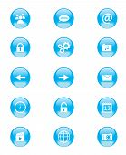 Set of blue and white circular buttons for mobile phone applications or web