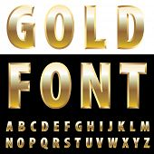 vector alphabet with golden bullion