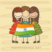 Happy cute little girls holding flag on brown background for Indian Independence Day celebrations.