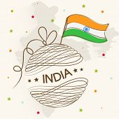 Stylish ball wrapped with ribbon and text and national flag on republic map of India background for