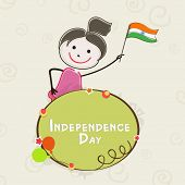 Kiddish banner with cute little girl holding flag on abstract background for 15th of August, Indian