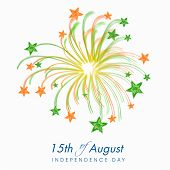 Beautiful fireworks in Indian trio colors with stars on grey background for 15th of August, Indian I