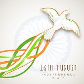 Beautiful flying pigeon on national waves on ashoka wheel background for 15th of August, Indian Inde