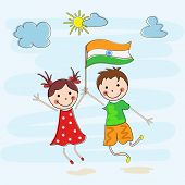 Happy little kids holding Indian National Flag on nature background for 15th of August, Indian Indep