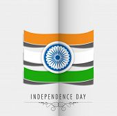 Stylish flag design with national colors stripe and ashoka wheel on folded grey paper background for