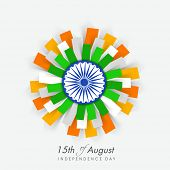Beautiful flower design in Indian national flag colors with ashoka wheel on blue background  for 15t