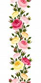 stock photo of english rose  - Vector seamless vertical border with pink - JPG
