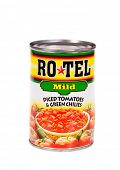 HAYWARD, CA - July 16, 2014:10 oz can of Ro*tel mild Diced Tomatoes & Green Chilies