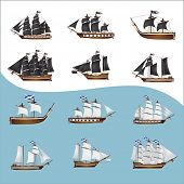 stock photo of galleon  - Twelve old pirate ships - JPG