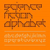 Science fiction alphabet. Vector.