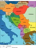 picture of former yugoslavia  - Former Yugoslavia Regional Map with individual Countries - JPG