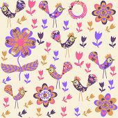Bird Seamless Pattern And Seamless In Swatch Menu, Vector