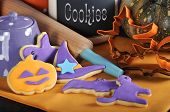 Happy Halloween Party Trick Or Treat Purple And Orange Cookies With Rolling Pin, Cookie Cutters And