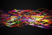 Horizontal Rainbow Strands Line Glow Dark Background