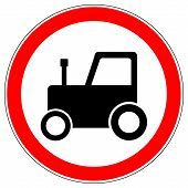 No Tractor Road Sign