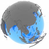 East Asia On The Globe