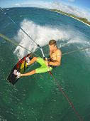 Kiteboarding, Fun in the Ocean, Extreme Sport.