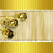 Greeting Card With Golden Roses On Wooden Background