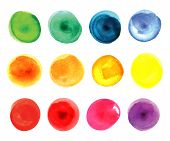 Set of watercolor circles  in vibrant colors. Watercolor wet stains isolated on white.