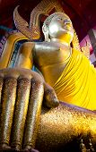 Golden Seated Buddha Image In Temple