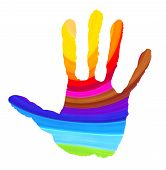 Bright Color Handprint On White